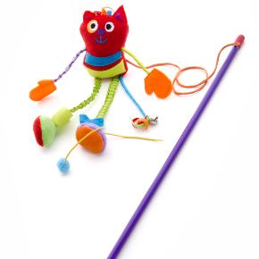 Plyšová mačka na prúte, hračka