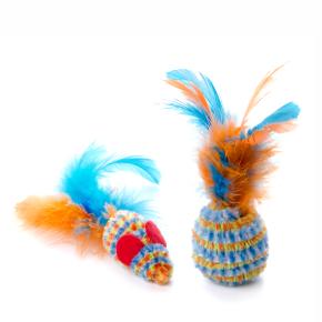 Loptička a myška s pierkom, plyšová (plastová) hračka
