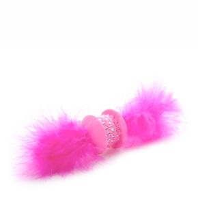 Ružová TPR činka s pierkom, hračka