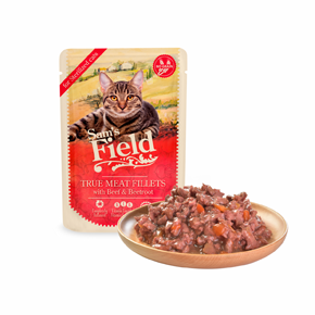 Sams Field True Meat Fillets with Beef & Beetroot for sterilized cats (Sam's Field)