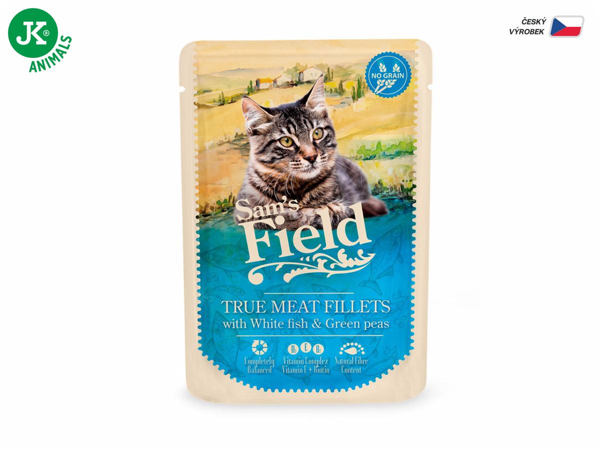 Sam 's Field True Meat Fillets With White Fish & Green Peas | © copyright jk animals, všetky práva vyhradené