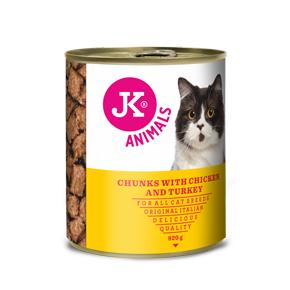 JK konzerva pre mačky s kuracím a morčacím mäsom 820g
