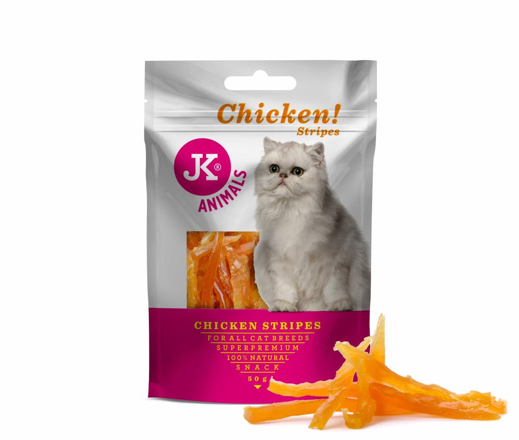 JK superpremium MEAT SNACK CAT CHICKEN STRIPS - sušené kuracie prúžky pre mačky | © copyright jk animals, všetky práva vyhradené