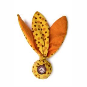 TPR loptička, žltá plyšová pískacia, šuštiaca hračka