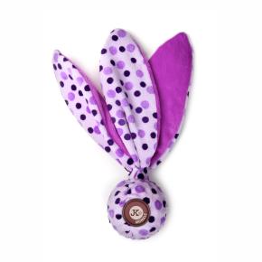 TPR loptička, fialová plyšová pískacia, šuštiaca hračka