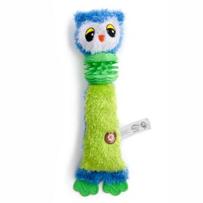 Plyšová sova s TPR krkom a labkami, plyšová pískacia hračka
