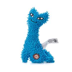 Mačka plyš modrá, plyšová pískacia hračka