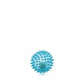 JK LED TPR loptička s pichliačmi modrá, odolná (gumová) hračka z termoplastickej gumy