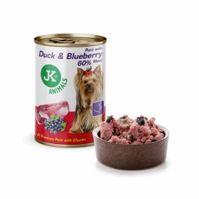 JK Duck & Blueberry, Premium Paté with Chunks, superprémiová mäsová konzerva pre psov
