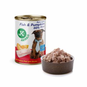 JK Fish & Pumpkin, Premium Paté with Chunks, superprémiová mäsová konzerva pre psov