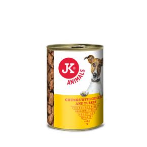 JK konzerva pre psov s kuracím a morčacím 415g