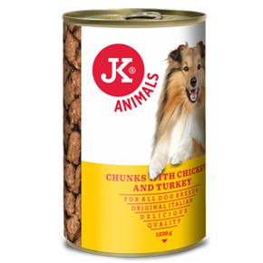 JK konzerva pre psov s kuracím a morčacím 1230g
