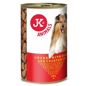 JK konzerva pre psov s hovädzím mäsom a zeleninou 1230g