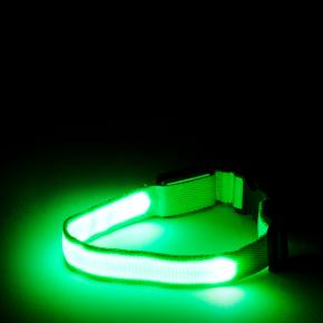 JK Nylonový LED obojok XS zelený