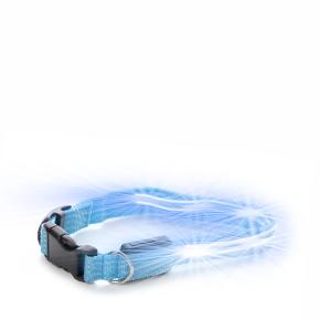 JK Nylonový LED obojok XS modrý