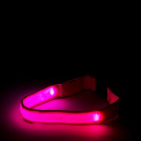 JK Nylonový LED obojok XS ružový