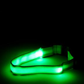 JK Nylonový LED obojok M zelený 2,5 cm/40-48 cm