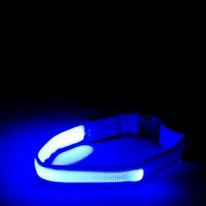 JK Nylonový LED obojok M modrý 2,5 cm/40-48 cm