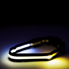 JK Nylonový LED obojok M čierny 2,5 cm/40-48 cm