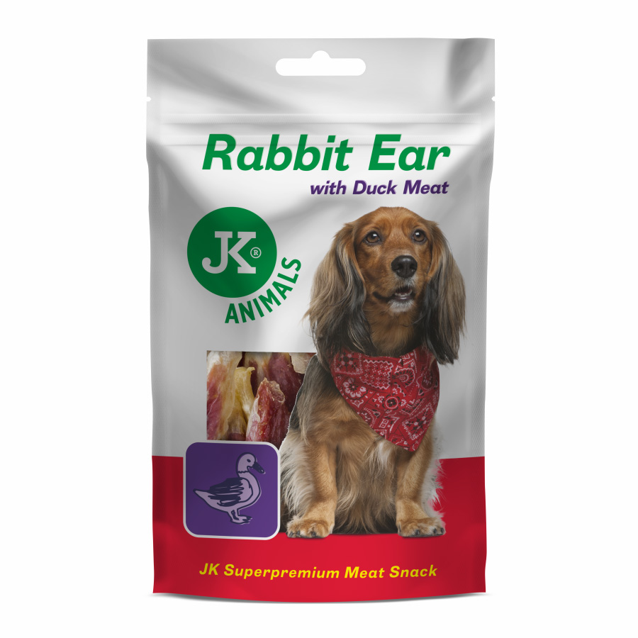 JK ANIMALS Meat Snack Rabbit Ear with Duck Meat, masový maškrta   © copyright jk animals, všetky práva vyhradené