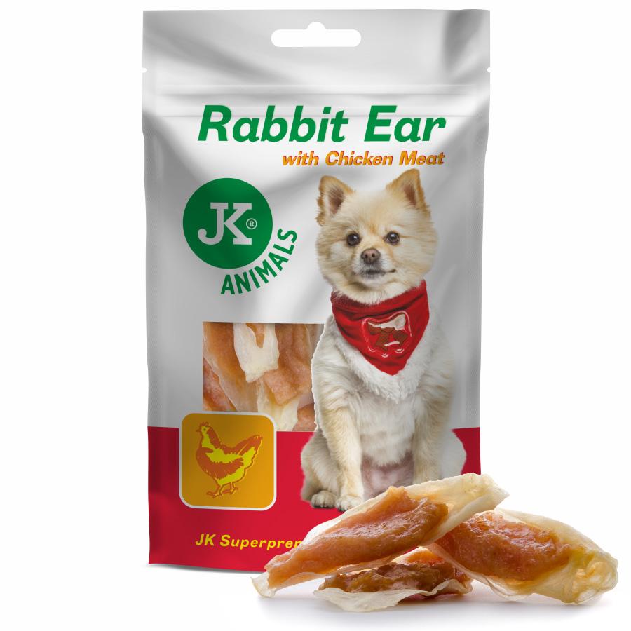JK ANIMALS Meat Snack Rabbit Ear with Chicken Meat, masová maškrta | © copyright jk animals, všetky práva vyhradené