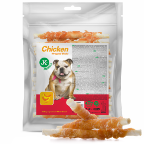 JK Meat Snack Chicken Wrapped Sticks, wrap s kuracím mäsom na byvolie tyčinke, mäsová maškrta, 500g