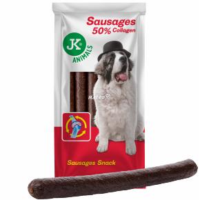 JK XS klobásy s kolagénom a karamelom (6 ks), veľkosť 2 cm × 30 cm