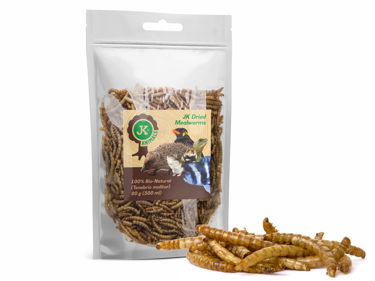 Sušené múčne červy JK Dried mealworms, 80g   © copyright jk animals, všetky práva vyhradené