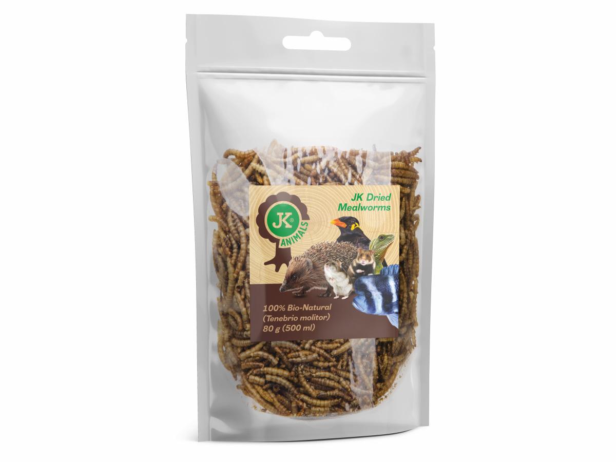 Sušené múčne červy JK Dried mealworms, 80g | © copyright jk animals, všetky práva vyhradené